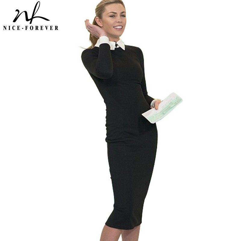 Nice-pour toujours Carrière Femmes Automne Turn-down Collar Fit Travail Robe Vintage Élégant bureau D'affaires Crayon moulante Midi robe 751