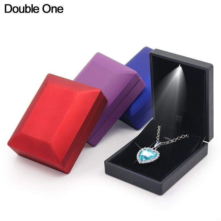LED Light Jewelry Box Rubber Painted Ring Pendant Necklace Bangle Bracelet Box for Jewelry Organizer Display Wedding Gifts 1PC