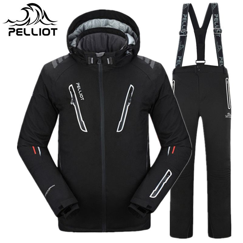 PELLIOT Brand Ski Suit Men High Quality Waterproof Thicken Warm Ski Clothing Men Winter Outdoor Sports Skiing Snowboarding Suits