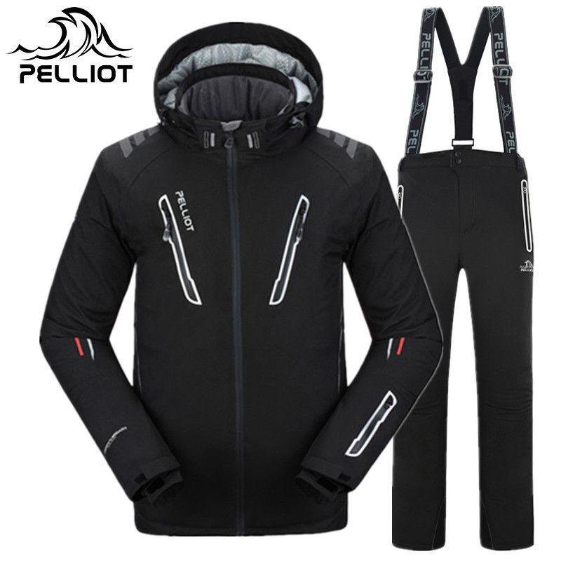 PELLIOT Marke Ski Anzug Männer Hohe Qualität Wasserdicht Verdicken Warme Ski Kleidung Männer Winter Outdoor Sport Skifahren Snowboarden Anzüge