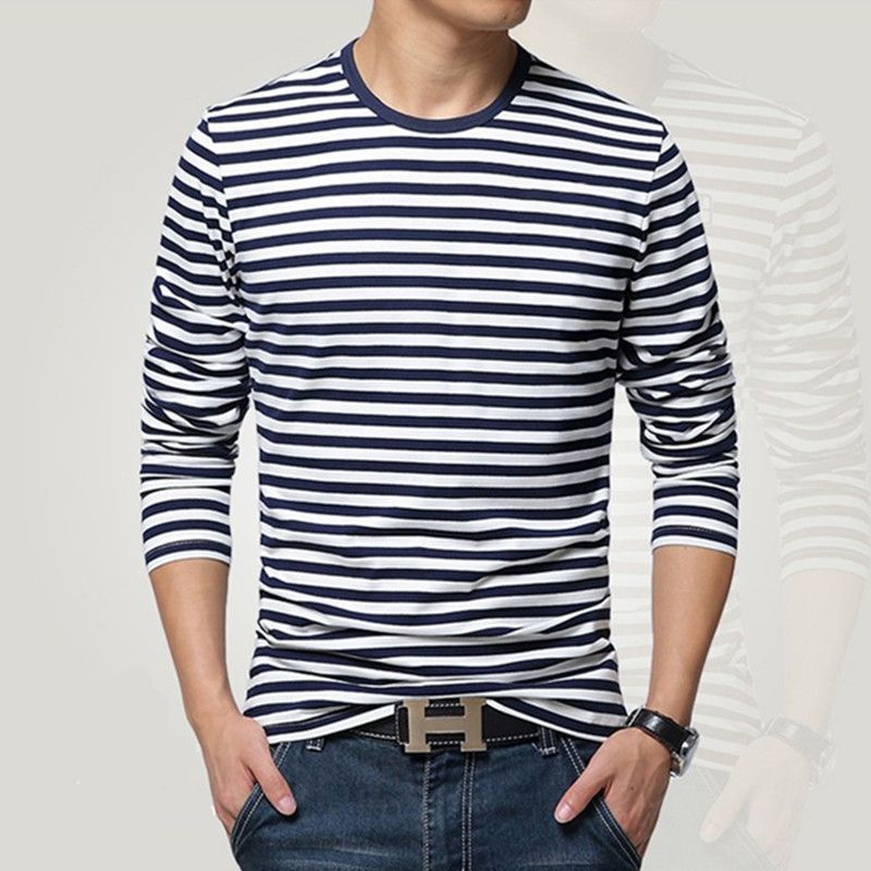 Navy style long-sleeve shirt men T-shirt o-neck <font><b>stripe</b></font> t shirt men shirt navy vintage basic 95% cotton shirt
