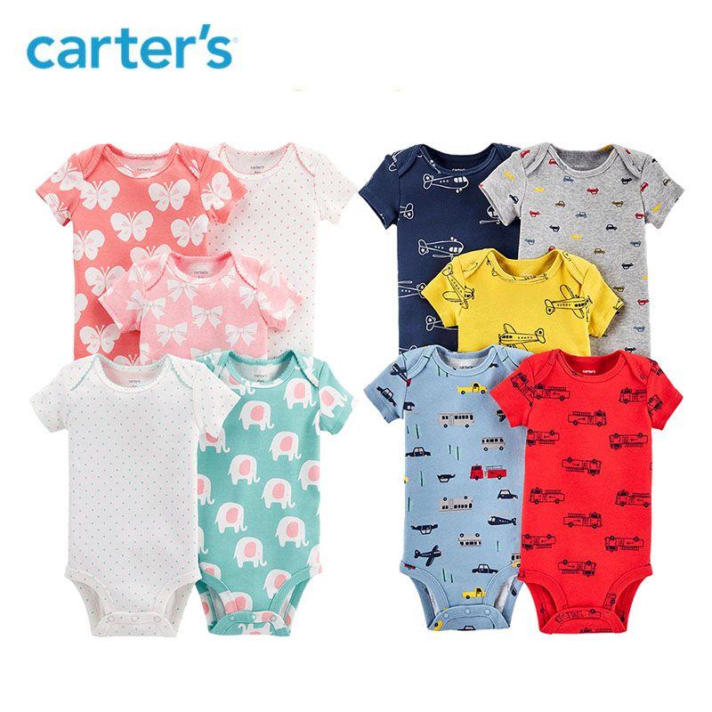 5pcs heart flower strawberry prints Short-Sleeve Cotton Bodysuits clothing sets Carter's baby Girl Summer 126H577/126H661