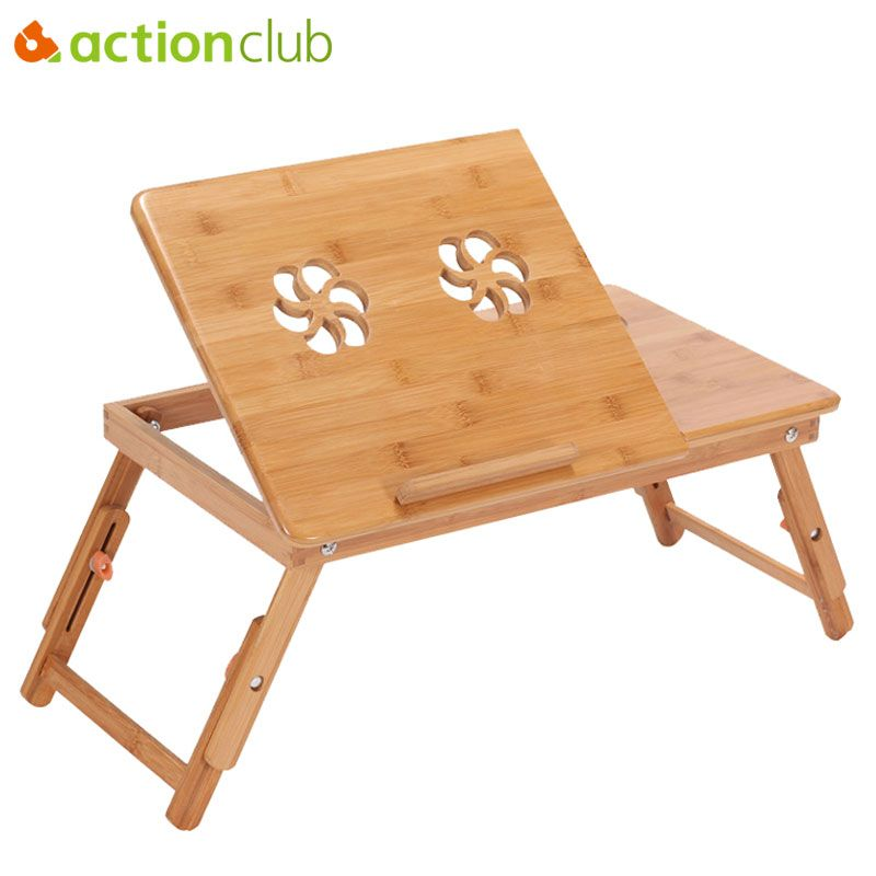 Actionclub Portable Folding Bamboo Laptop Table Sofa Bed <font><b>Office</b></font> Laptop Stand Desk With Fan Bed Table For Computer Notebook Books