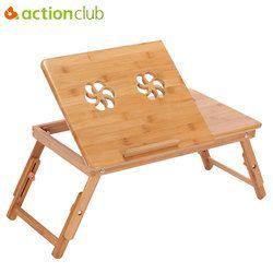 Actionclub portátil mesa plegable portátil de bambú sofá cama Oficina Soportes para el portátil de escritorio con ventilador cama mesa para ordenador portátil Libros