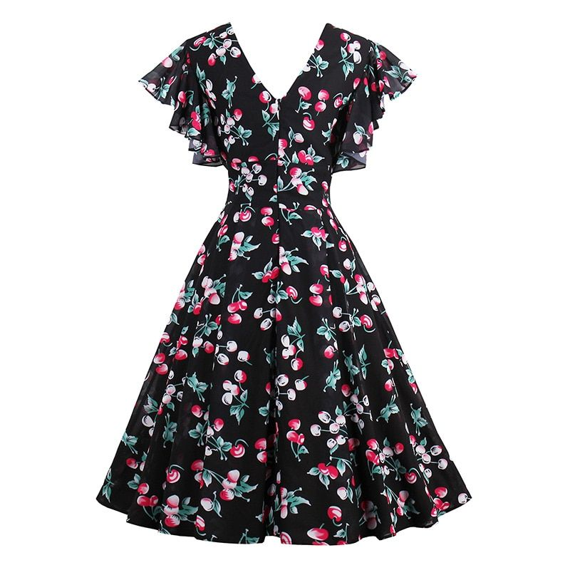 Sisjuly Women Summer Print Dress Female Floral Chiffon Dresses Sleeveless Knee-Length Female Vintage Style Summer Girls Dresses
