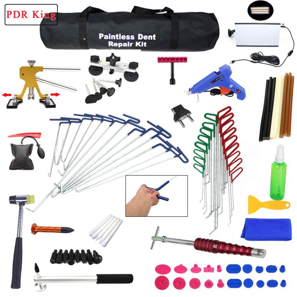 PDR Werkzeuge Ding Dent Reparatur Stangen Professionelle Paintless Hagel Entfernung Große Kit ausbeulen ohne reparatur werkzeuge pdr haken slide hammer