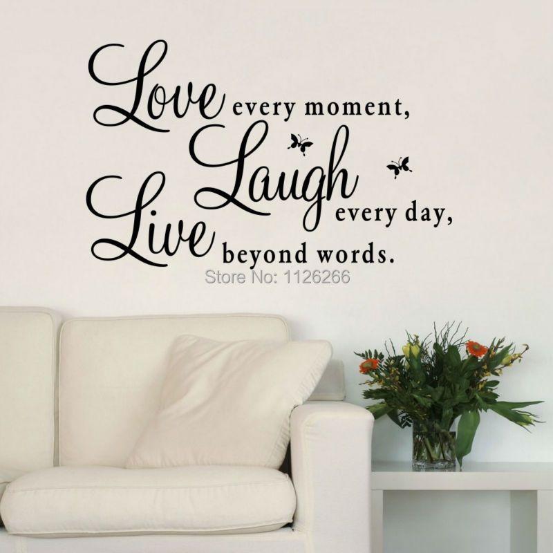 Вдохновляющие цитаты любовь каждый момент смеяться каждый день жить вне слов Наклейки на стену для Гостиная украшения Домашний Декор