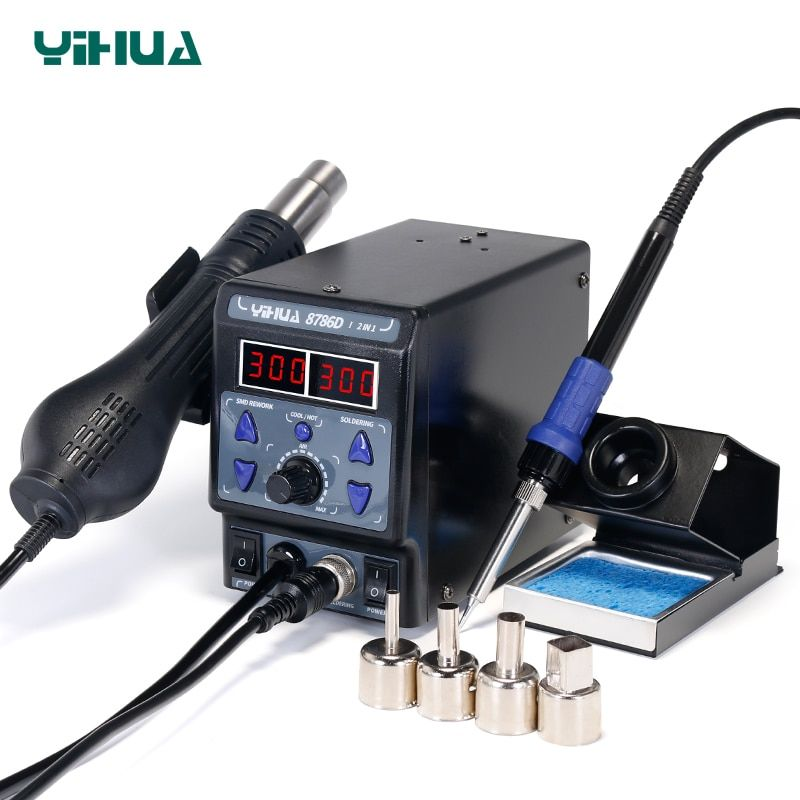 YIHUA 8786D Rework Station Digital Display Iron Soldering Stations SMD Hot Air Gun Soldering Station Welding Soldering Supplies