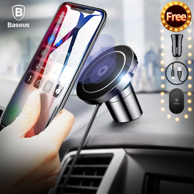 Baseus Fast Qi Wireless Charger For iPhone X 8 Plus Samsung S9 S8 Wireless Charging Charger Pad Magnetic Car Phone Holder <font><b>Stand</b></font>
