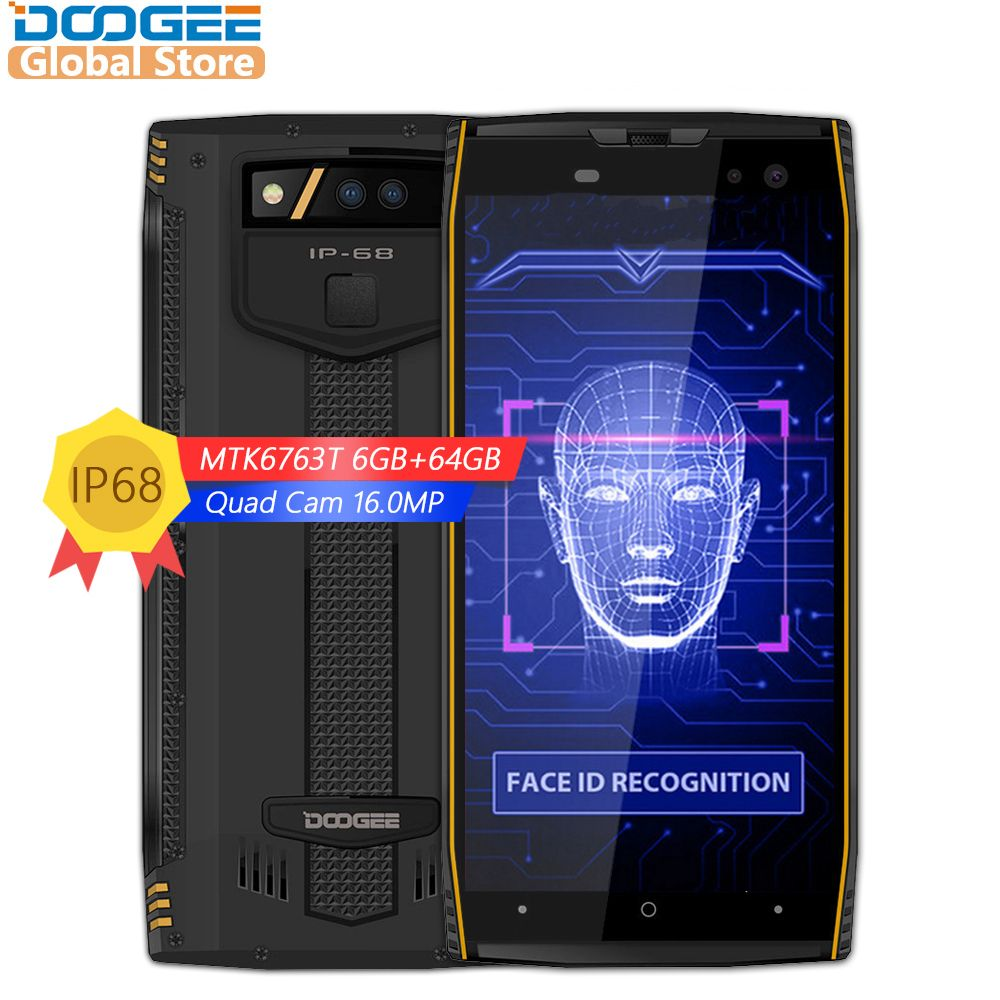 DOOGEE S50 IP68 Waterproof 5.7inch MTK6763T 2.5 GHz Octa Core 6GB 64GB Quad Cameras 16.0MP Smartphone 5180mAh Fast Charge