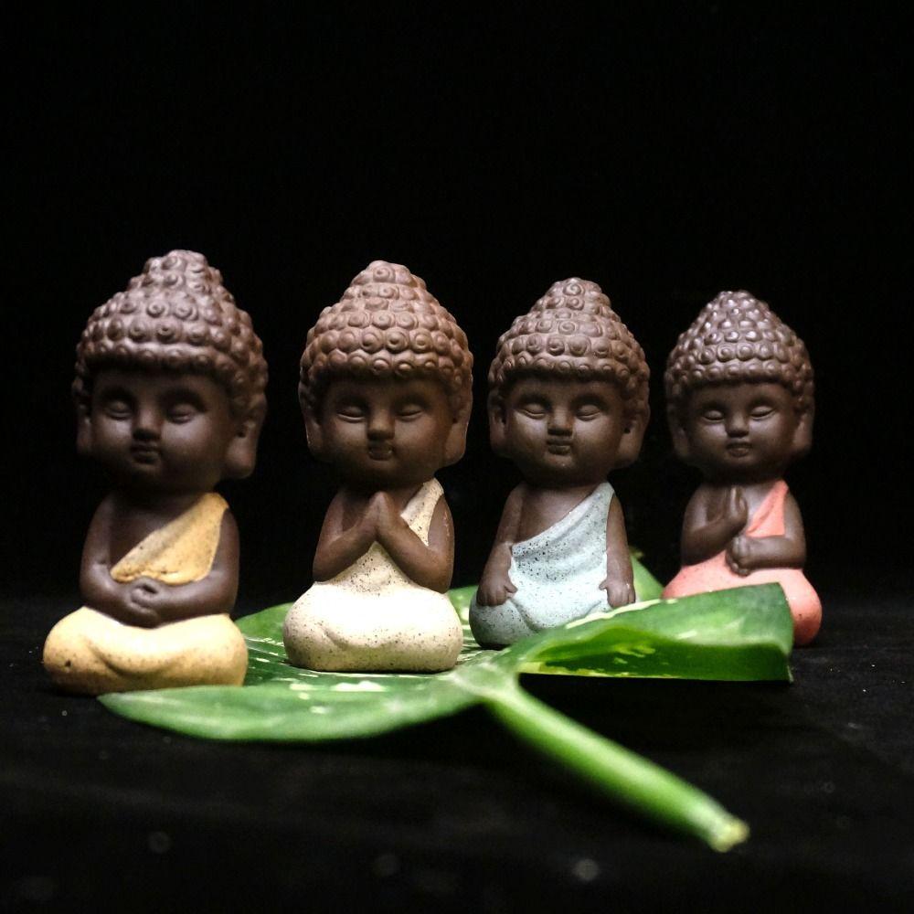 Petite statue de bouddha moine figurine tathagata inde Yoga Mandala thé pet violet céramique artisanat décoratif en céramique ornements