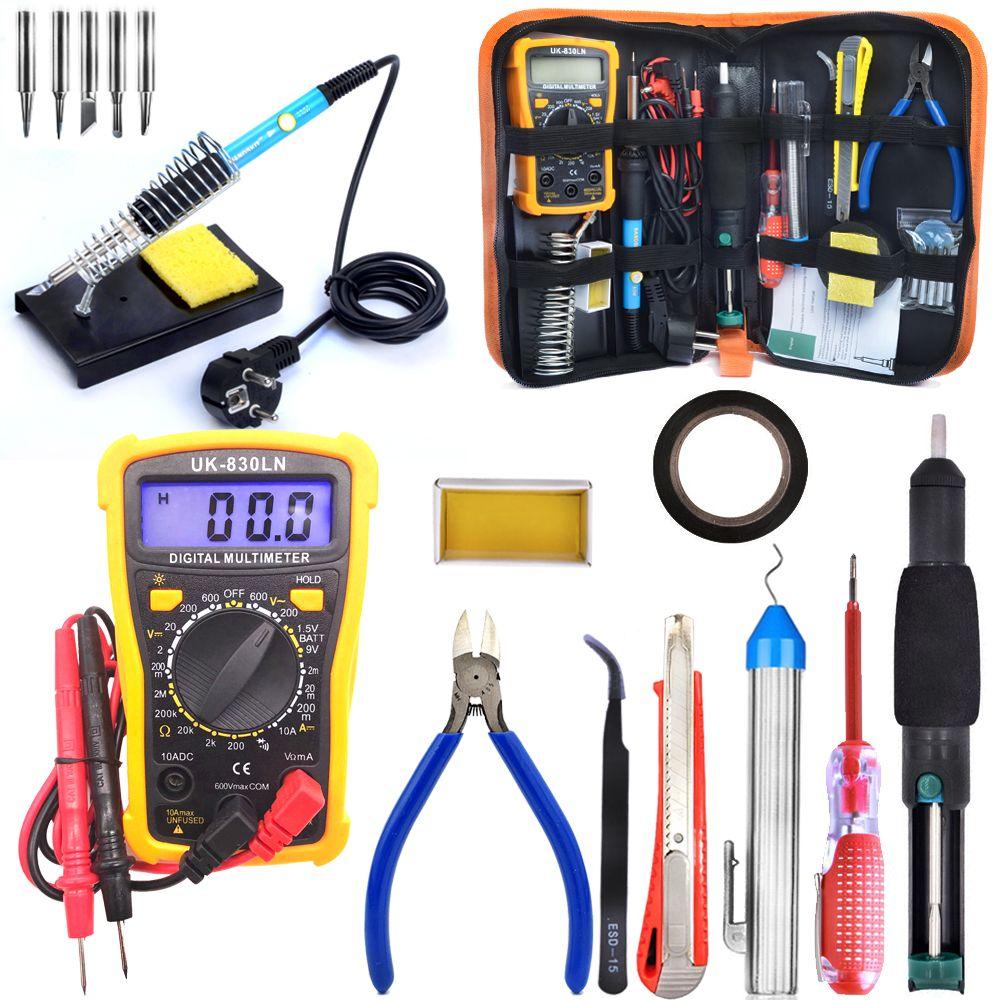 220V / 110V Electronic Maintenance Tools Set Soldering Iron Tip Metal Spudger Pliers Tweezers Digital Multimeter Repair Tool Kit