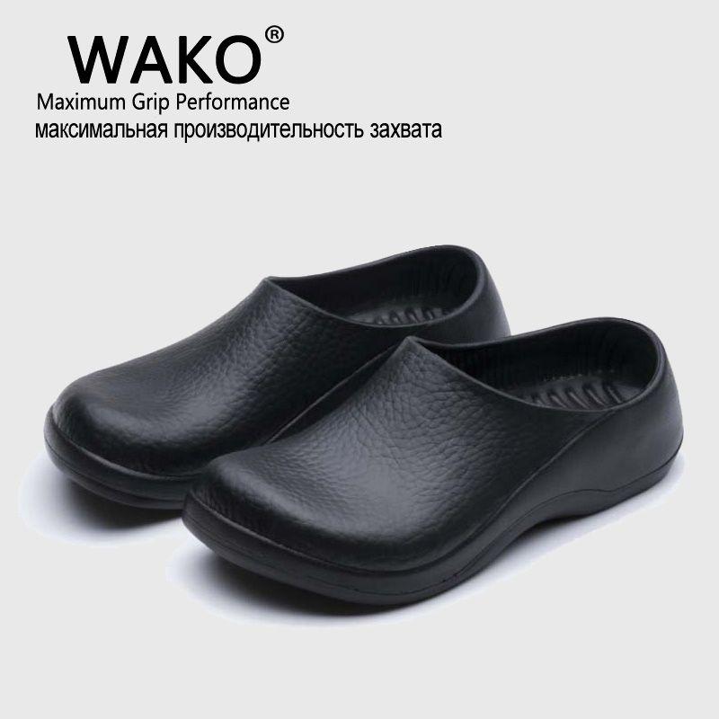 Wako/Новый Для мужчин шеф-повар Кухня рабочих Шлёпанцы для женщин Дачная обувь Летняя дышащая пляжная обувь на плоской подошве Шлёпанцы Сабо ...