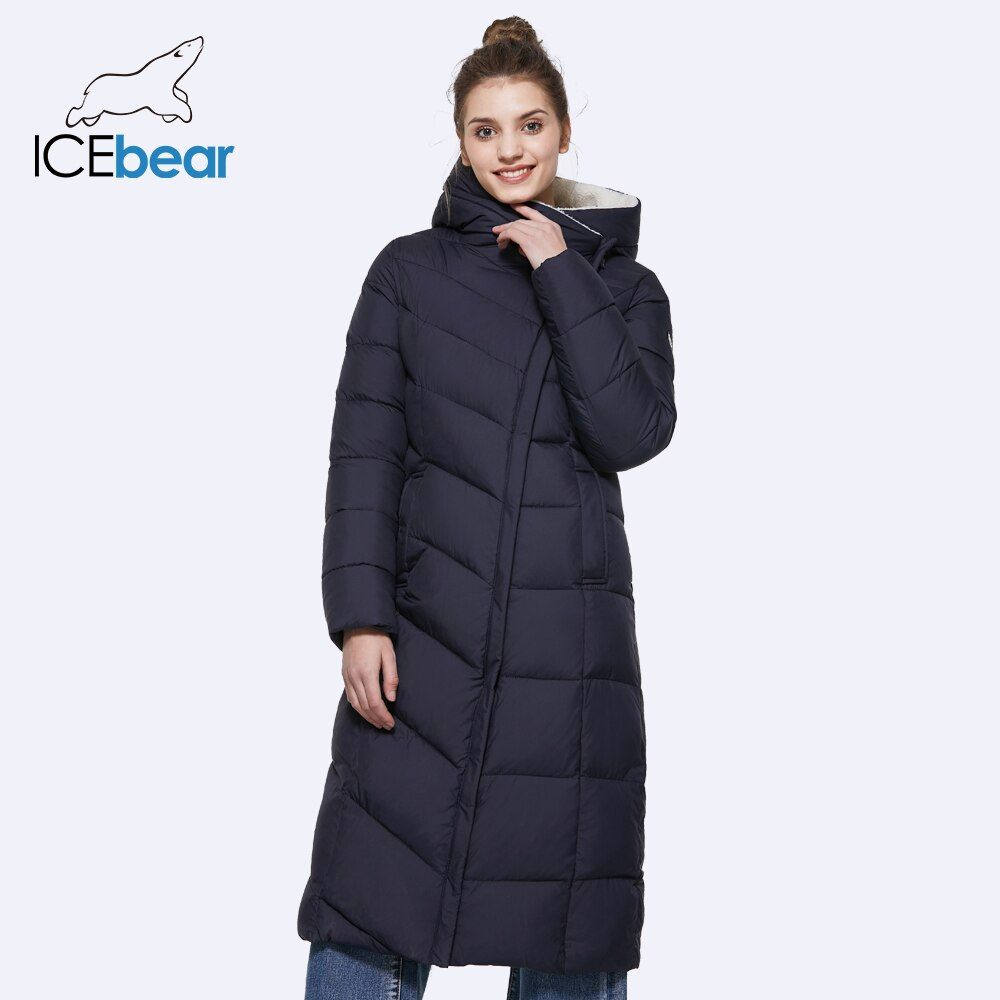 ICEbear 2017 New Winter Collection Warm Thicken Long Parkas Warm Woman Parka Jacket With Belt 17G661-1D