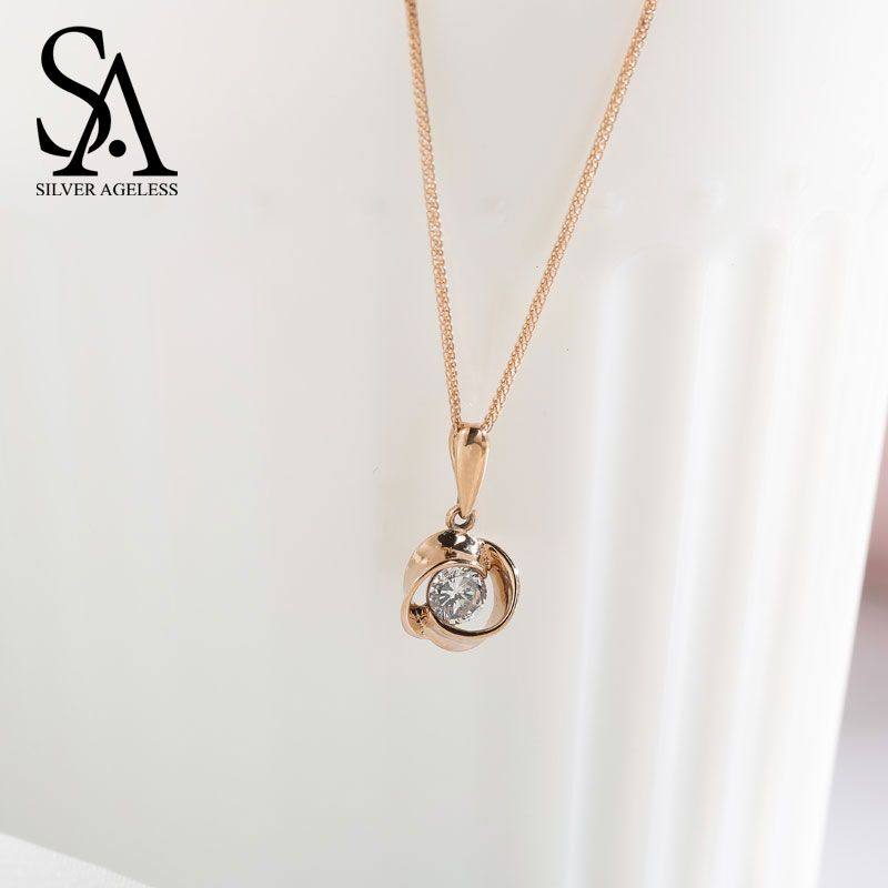 SILVER AGELESS Ketting Special Offer Party Necklaces 14k Rose Gold Pendant Chain Necklace For Women Fine Jewelry New Arrival