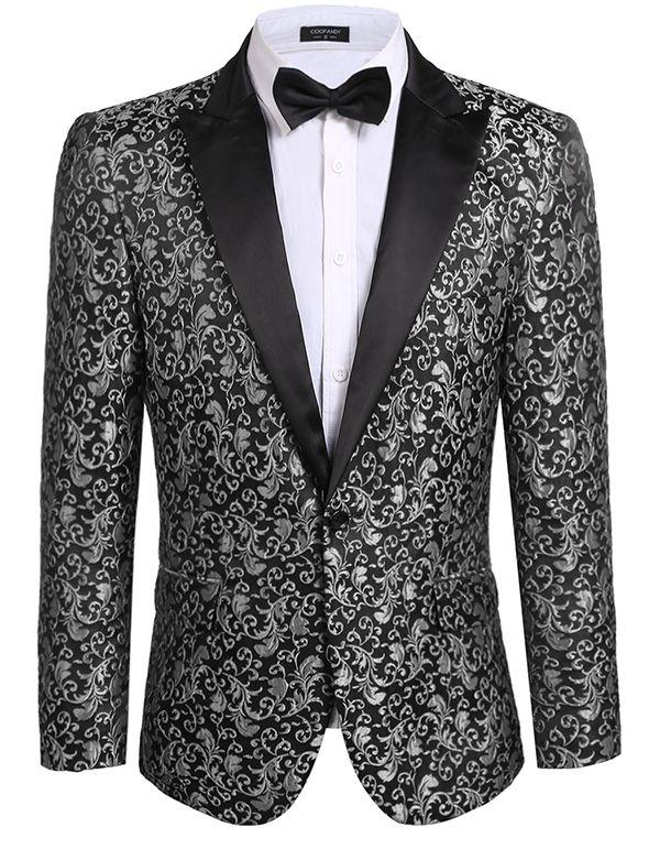Новинка 2017 года Для мужчин Блейзер Повседневное Slim Fit с длинным рукавом Цветочные Slim Fit Стильный пиджак блейзер Бесплатная доставка