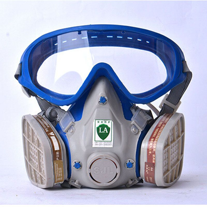 Gas mask with glasses full face protective mask anti-dust paint chemical masks <font><b>activated</b></font> carbon fire escape breathing apparatus