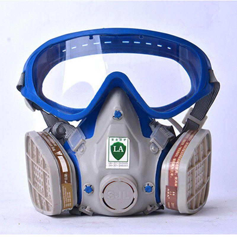 Masque à gaz avec lunettes plein visage de protection masque anti-poussière de peinture chimique masques activé carbone feu évasion appareil respiratoire