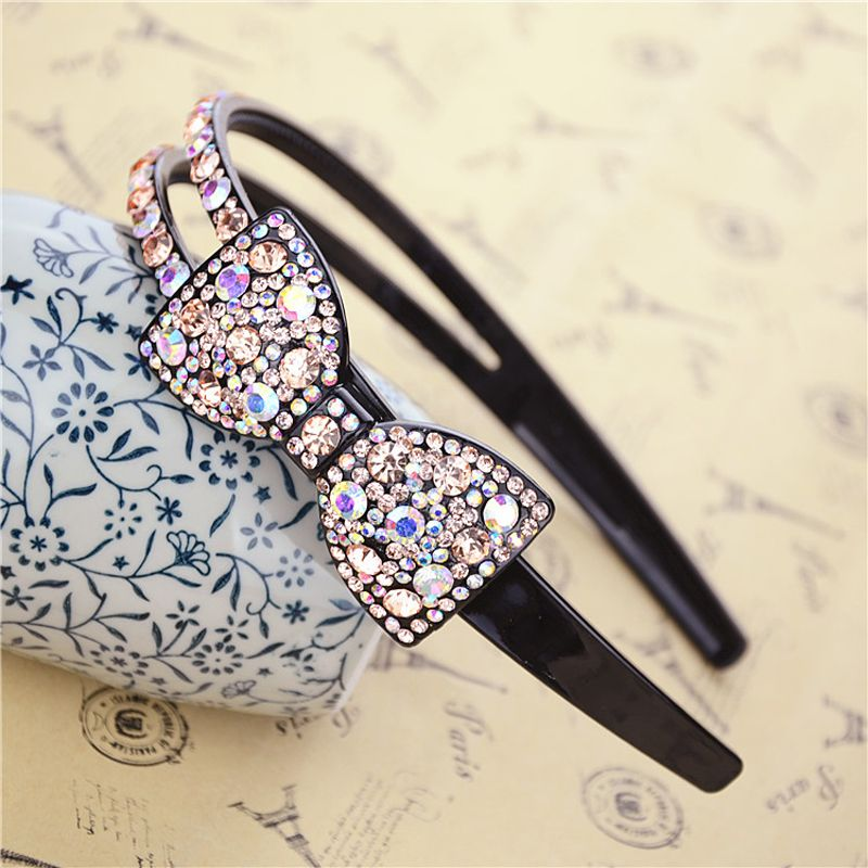 Luxury Bow Rhinestone Hairband Sweet Hair Accessory Crystal Hair Bands Wide Full Crystal Broadside S Twist Headband 13 Colors