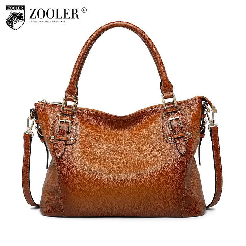 ZOOLER Nuevo 2018 llegada bolso de cuero genuino bolso Trapecio capacidad bolsas de moda mujer sólido OL clásico de la señora del bolso de hombro # c131