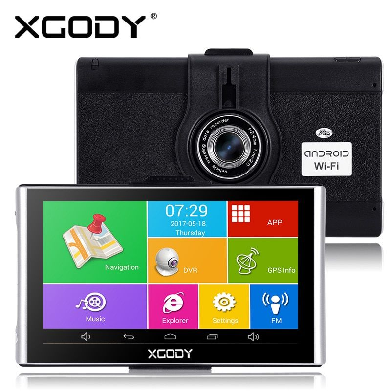 Xgody 7 pouces Android Gps Dvrs Navigation de voiture 512M + 8GB navigateur avec Wifi HD 1080p Dash caméra enregistreur vidéo Fm AVIN Dashcam
