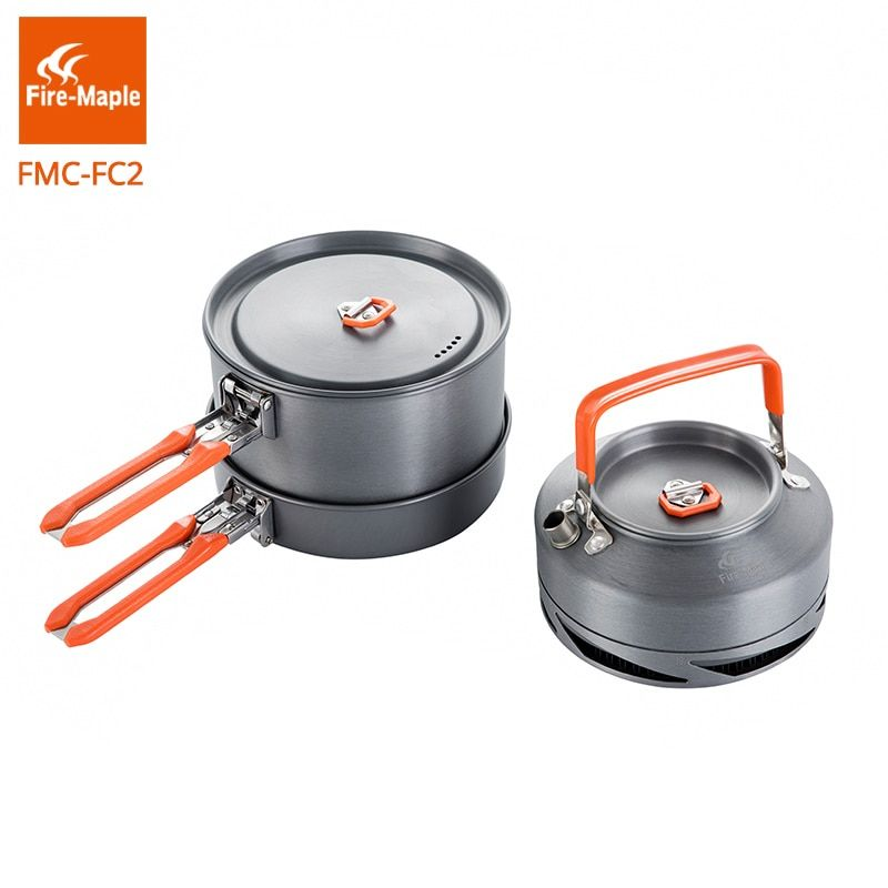 Fire Maple Outdoor Camping Cookware Set Backpacking Picnic 1 Pot 1 Frypan 1 Kettle Compact Foldable FMC-FC2 Brand Cooking Set
