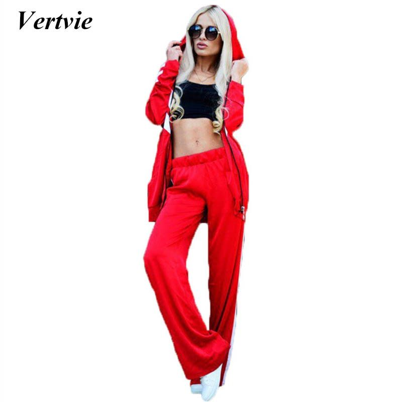 Vertvie Women Loose Sport Suit Long Sleeve Zipper Hooded Jacket Running Athleisure Set Jogging Pant Two Pieces Set Sport Costume