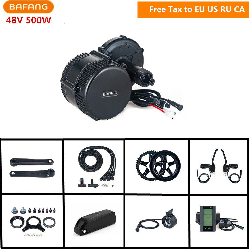 48V 500W Bafang 8fun BBS02B Mid Crank Drive Motor Conversion Kits LCD Display Electric Bike Kits With 48V 17AH Lithium Battery