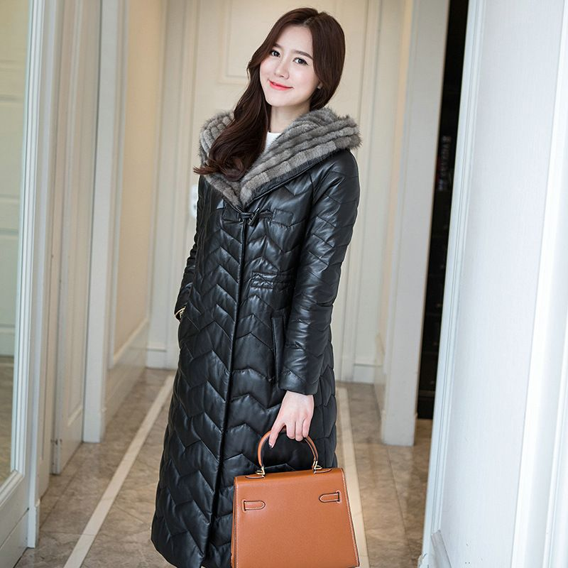 YOLANFAIRY Geniune Sheepskin Leather Woman Jacket Mink Hair Collar Hooded Jackets Jaqueta de couro chaquetas para mujer MF095