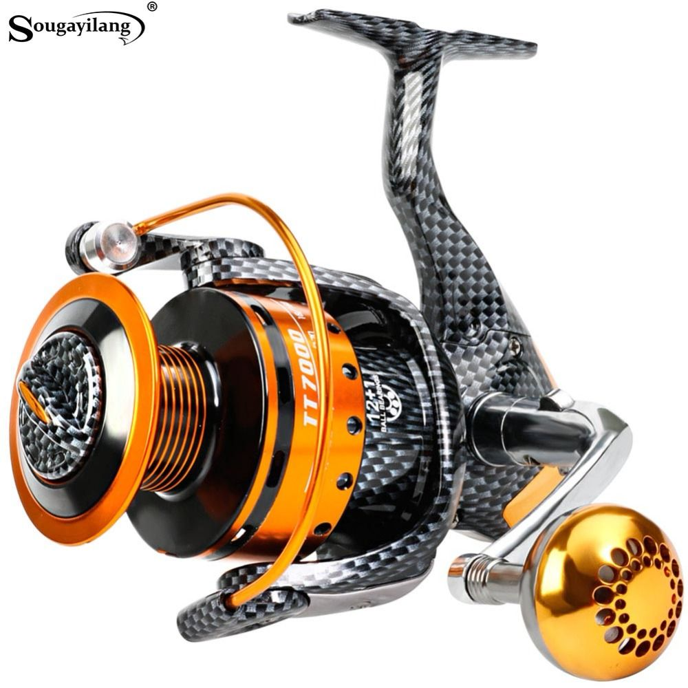 Sougayilang 1000-7000L Carp Reels Speed 5.3:1 Gear Ratio Right/Left Hand Sea Fishing Reel Saltwater Freshwater Spinning Reel