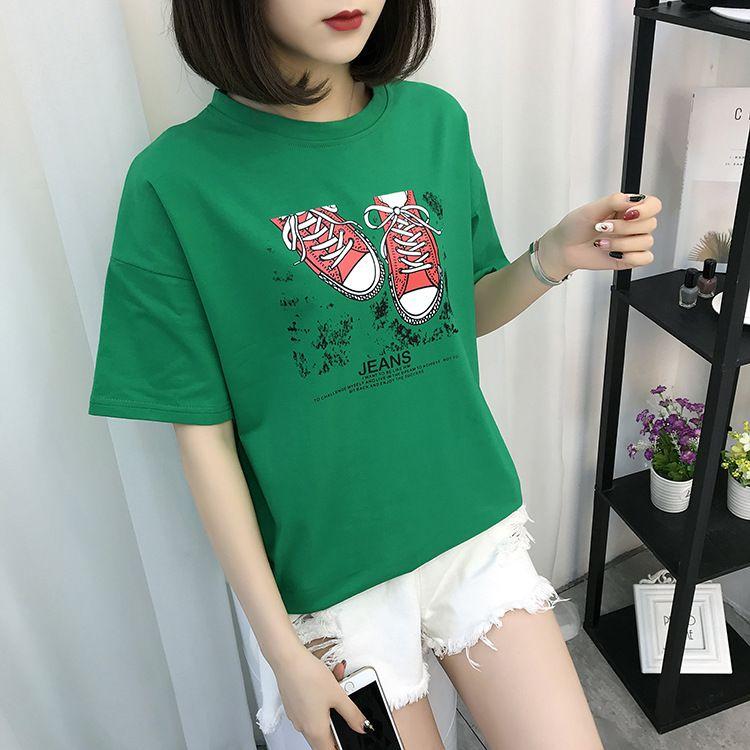 M22 Symbole Motif Chat T-shirt Imprimé de Lettre Harajuku décontracté Tumblr Femelle F089
