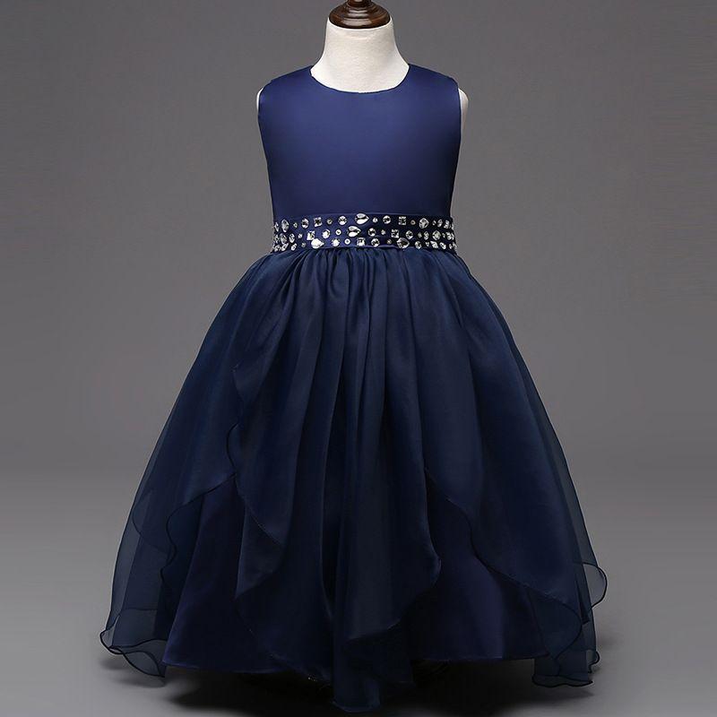 Moda vestido de fiesta nueva llegada caliente Rosa Blanco rojo azul marino azul cristal vestidos para 8-15 años para un wedding2.2