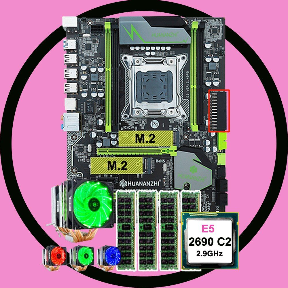 Marke motherboard mit dual M.2 slot rabatt HUANANZHI X79 Pro motherboard mit CPU Intel Xeon E5 2690 2,9 GHz RAM 4*16G REG ECC