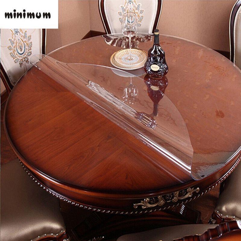 Table ronde en verre souple nappe transparente imperméable à l'huile ronde hôtel PVC nappe en plastique table basse tapis napperon