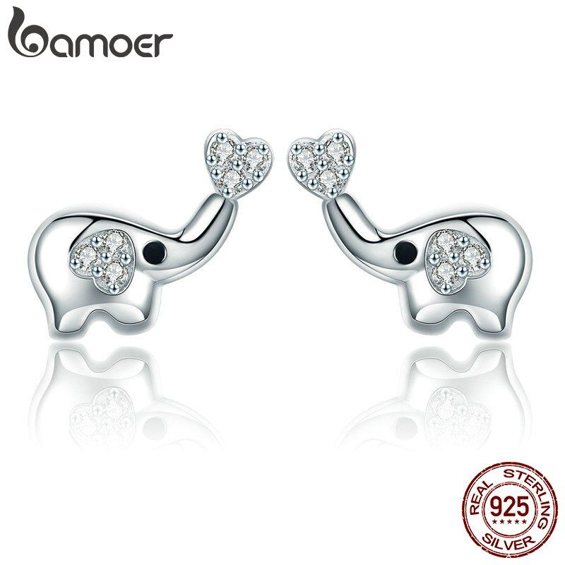 BAMOER Authentische 100% 925 Sterling Silber Tier Wenig Elefanten Klar CZ Ohrringe für Frauen Sterling Silber Schmuck Geschenk SCE379