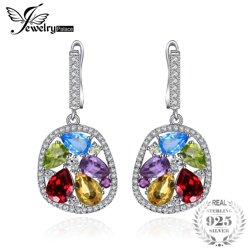 JewelryPalace Luxury 5.3ct Genuine Amethyst Garnet Peridot Blue Topaz Dangle Earrings Fine Jewelry Nice Gift For Woman/daughter