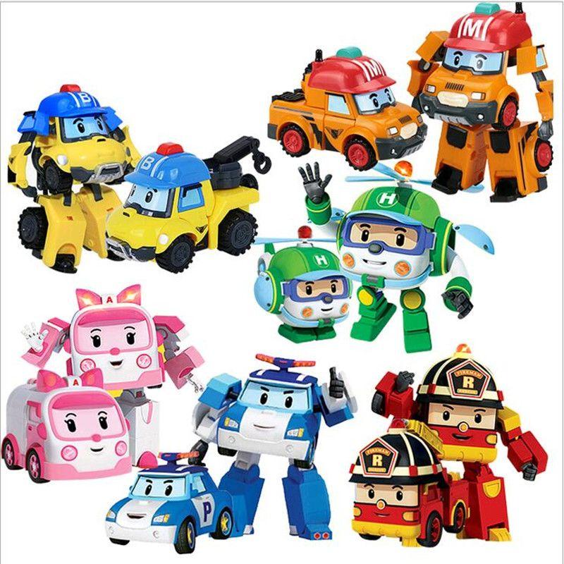 6 pcs/ensemble Robocar Poli Transformation Robot Voiture Jouet Corée Poli Robocar Anime Action Figure Jouets Pour Enfants Cadeau