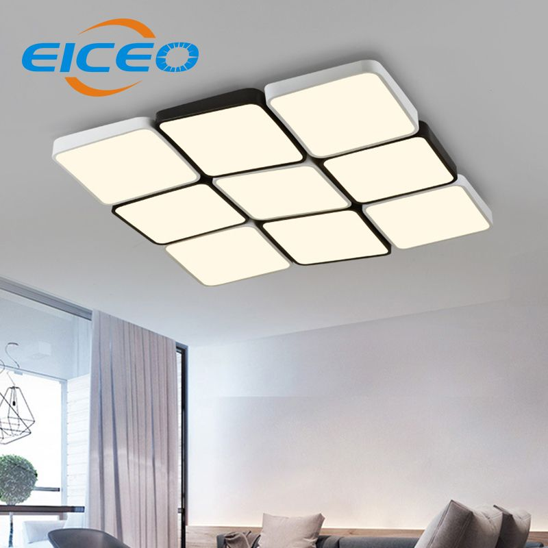 (EICEO) LED Ceiling Lamp Rectangular Modern Minimalist Ultra-thin Living Room Lighting Personalized Creative Bedroom Lighting