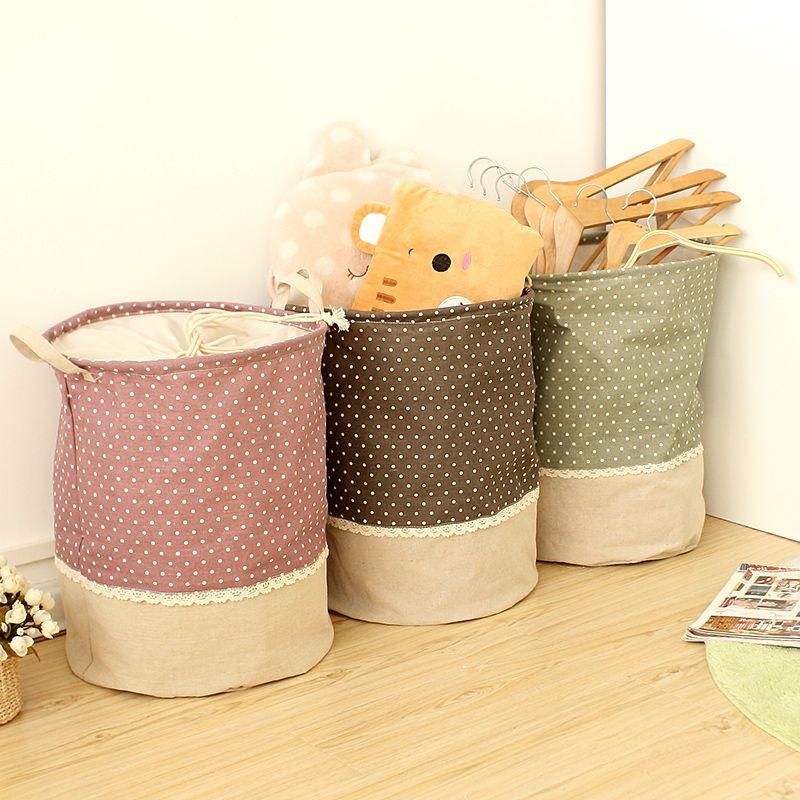 Zakka 3 Sizes The beam port Linen Multi-function Handle Stackable storage barrel Laundry basket Toy Storage box