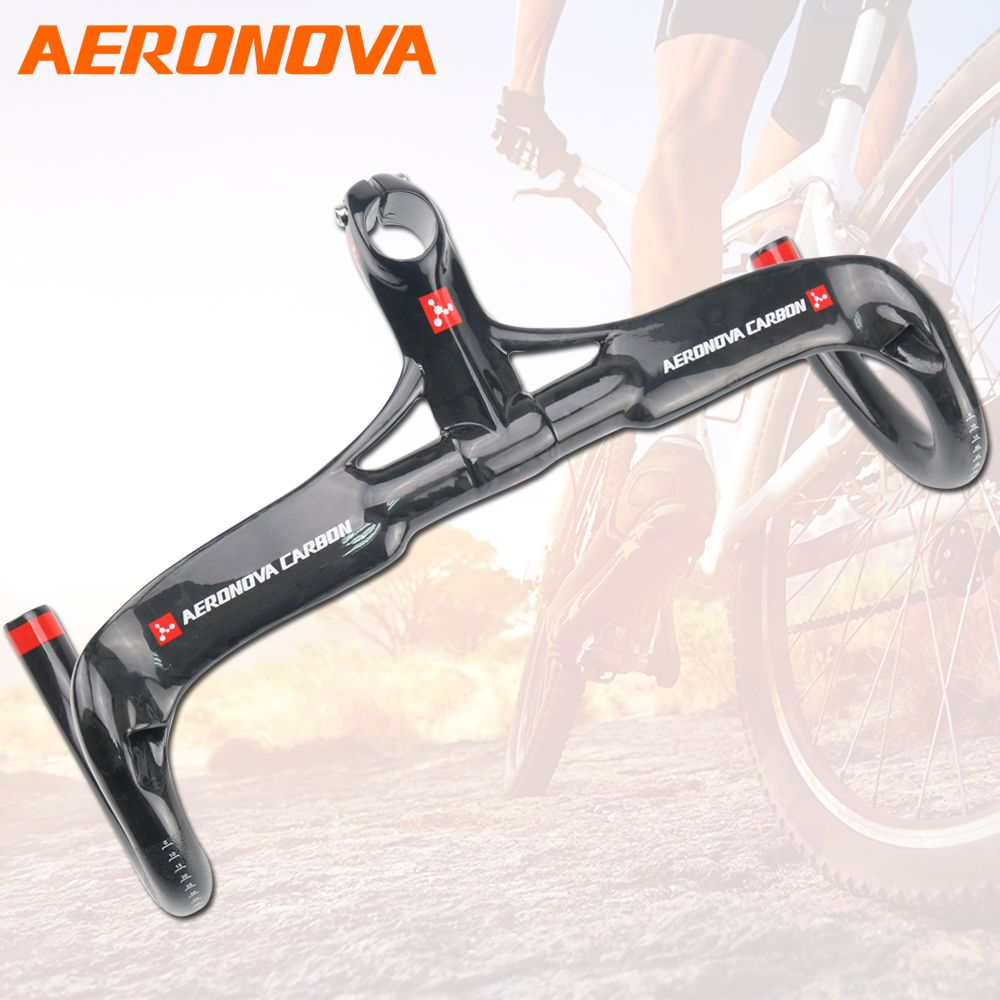 AERONOVA Bicycle Carbon Handlebar 3K Glossy Ultralight Carbon Fiber Integrated Handlebar With Stem 28.6mm Handlebars