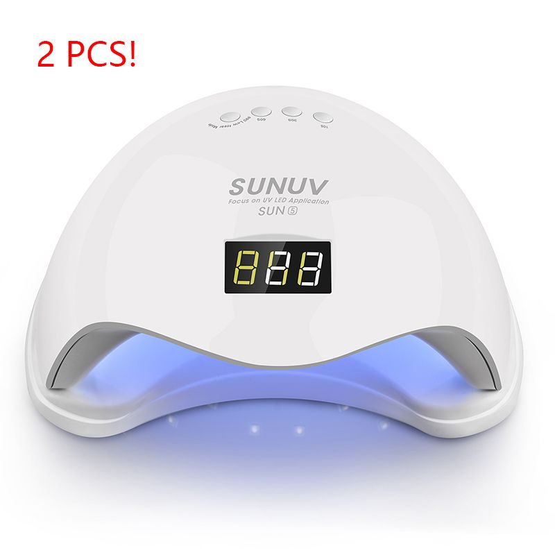 2pcs SUN 48W SUN5 UVLED Sensor Double White UVLight LED Lamp Nail Dryer Fast Drying For Curing Nail Gel Polish With Display Time