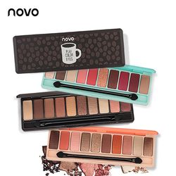 Novo Fashion Eyeshadow Palet 10 Warna Matte Eyeshadow Telanjang Palet Glitter Eye Shadow Makeup Nude Makeup Set Korea Kosmetik