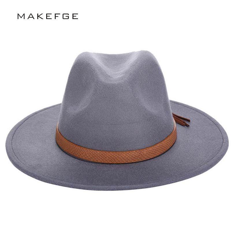 2019 Autumn Winter Sun Hat Women Men Fedora Hat Classical Wide Brim Felt Floppy Cloche Cap Chapeau Imitation Wool Cap