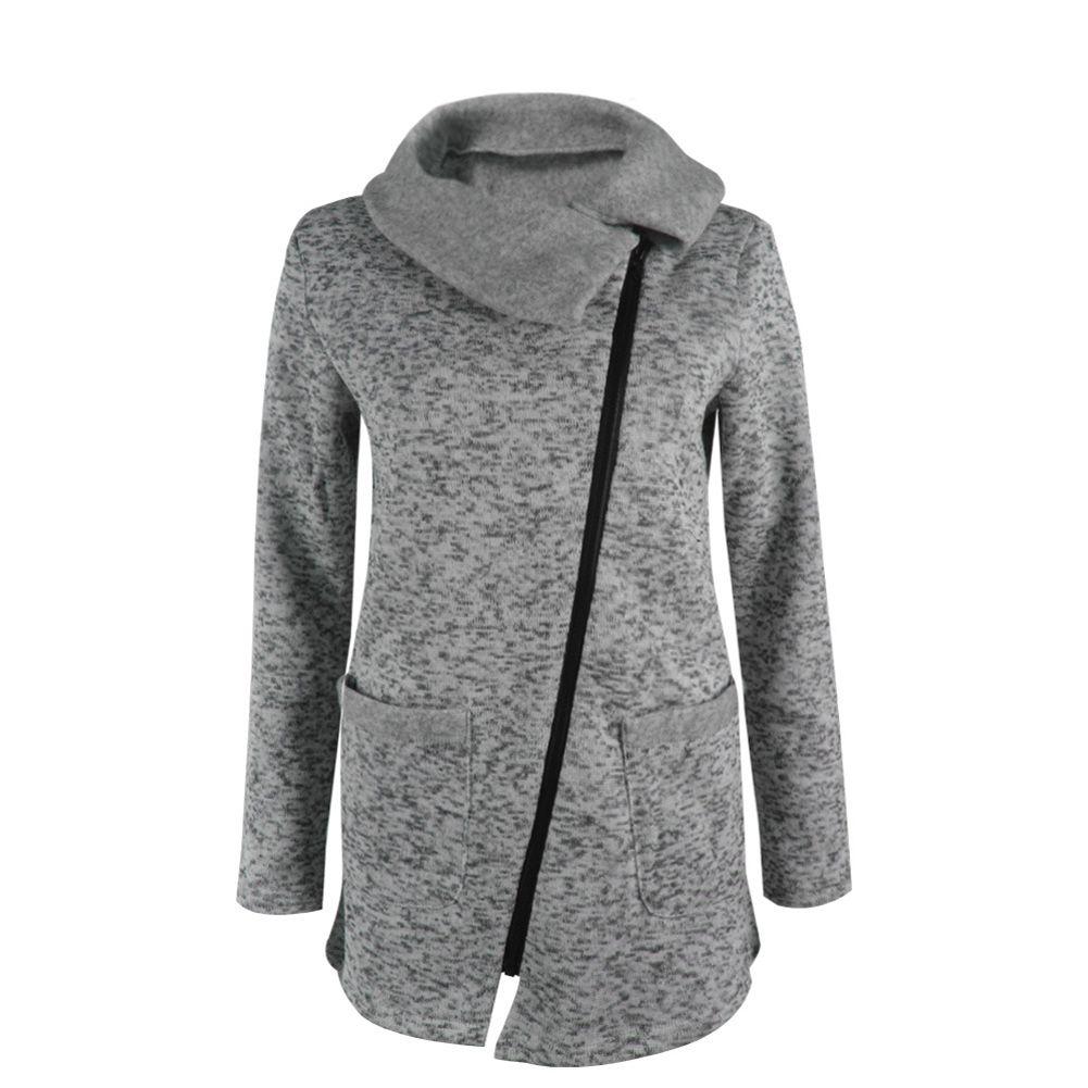 Women Autumn Winter Clothes Casual Warm Long Fleece Jacket Slant Zipper Collared Coat Plus Size Ladies Jacket