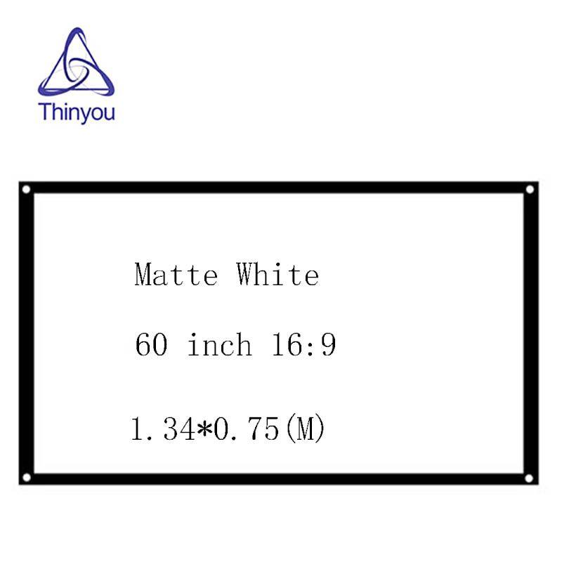 Thinyou Portable 16:9 60 pouce Projecteur Écran Bord Fini Blanc Rideau Simple Écran pantallas de proyección