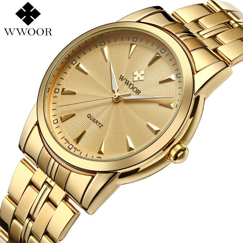 Top Marque De Luxe Hommes Étanche En Acier Inoxydable Montres En Or Hommes de Quartz Horloge Mâle Or Montre-Bracelet WWOOR relogio masculino