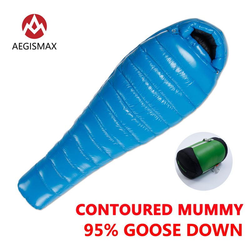 AEGISMAX 95% White Goose Down Mummy Camping Sleeping Bag Cold Winter Ultralight Baffle Design Camping Splicing G1-G4 Lengthened
