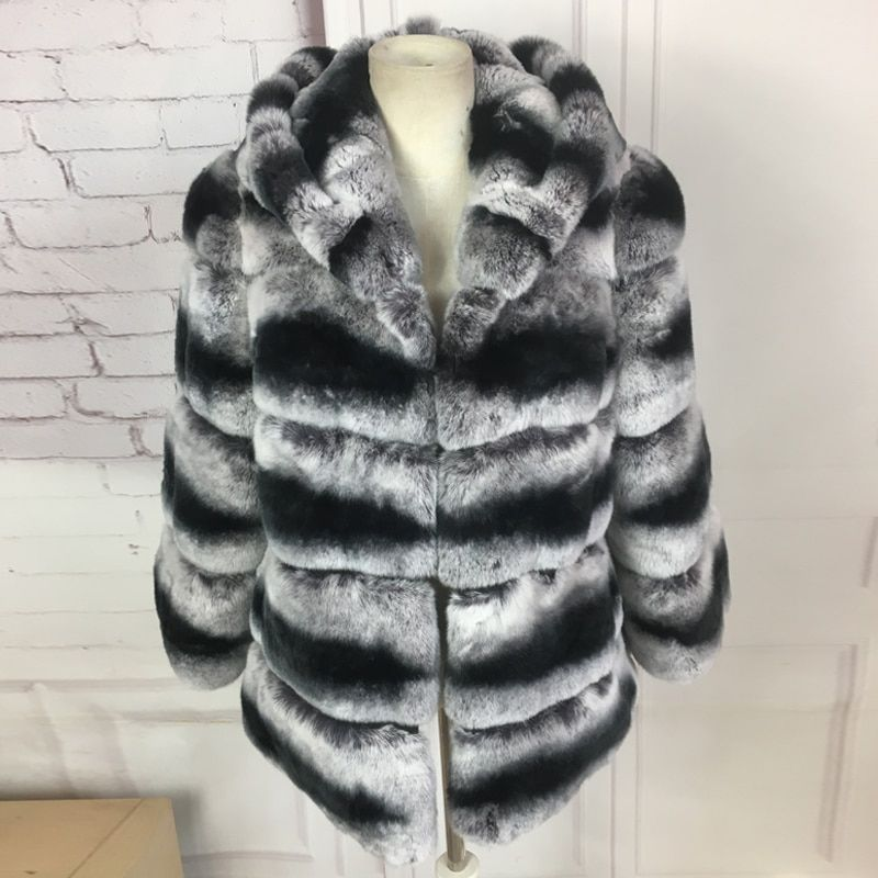 real rex rabbit fur coat for women 60cm long hooded High quality chinchilla rex rabbit fur coat