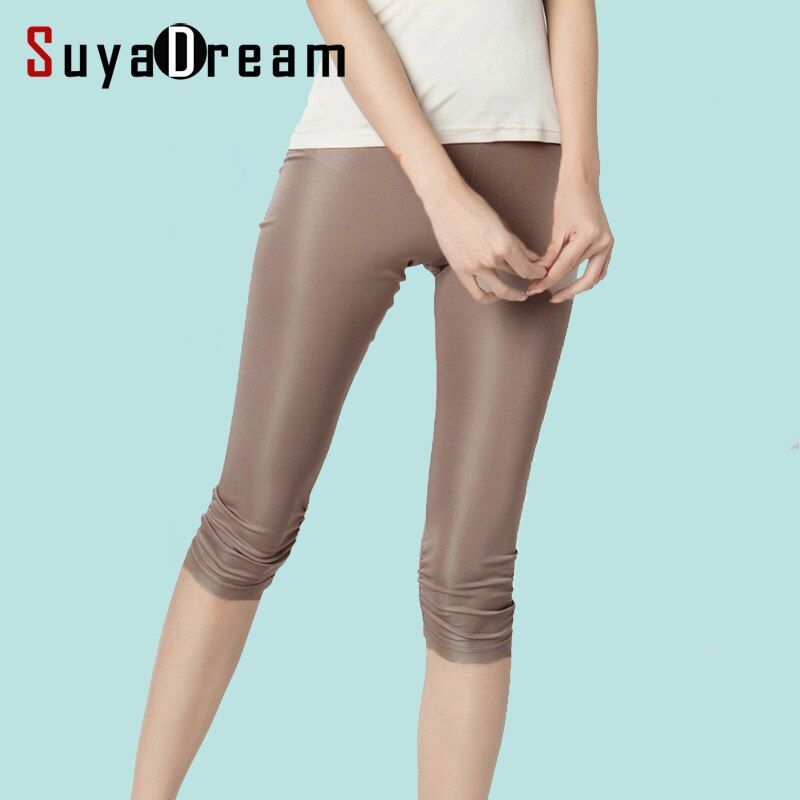 Femmes Leggings 100% vraie soie 3/4 longueur pantalon slim leggings grande taille Anti vidé pantalon de fond couleurs claires noir blanc