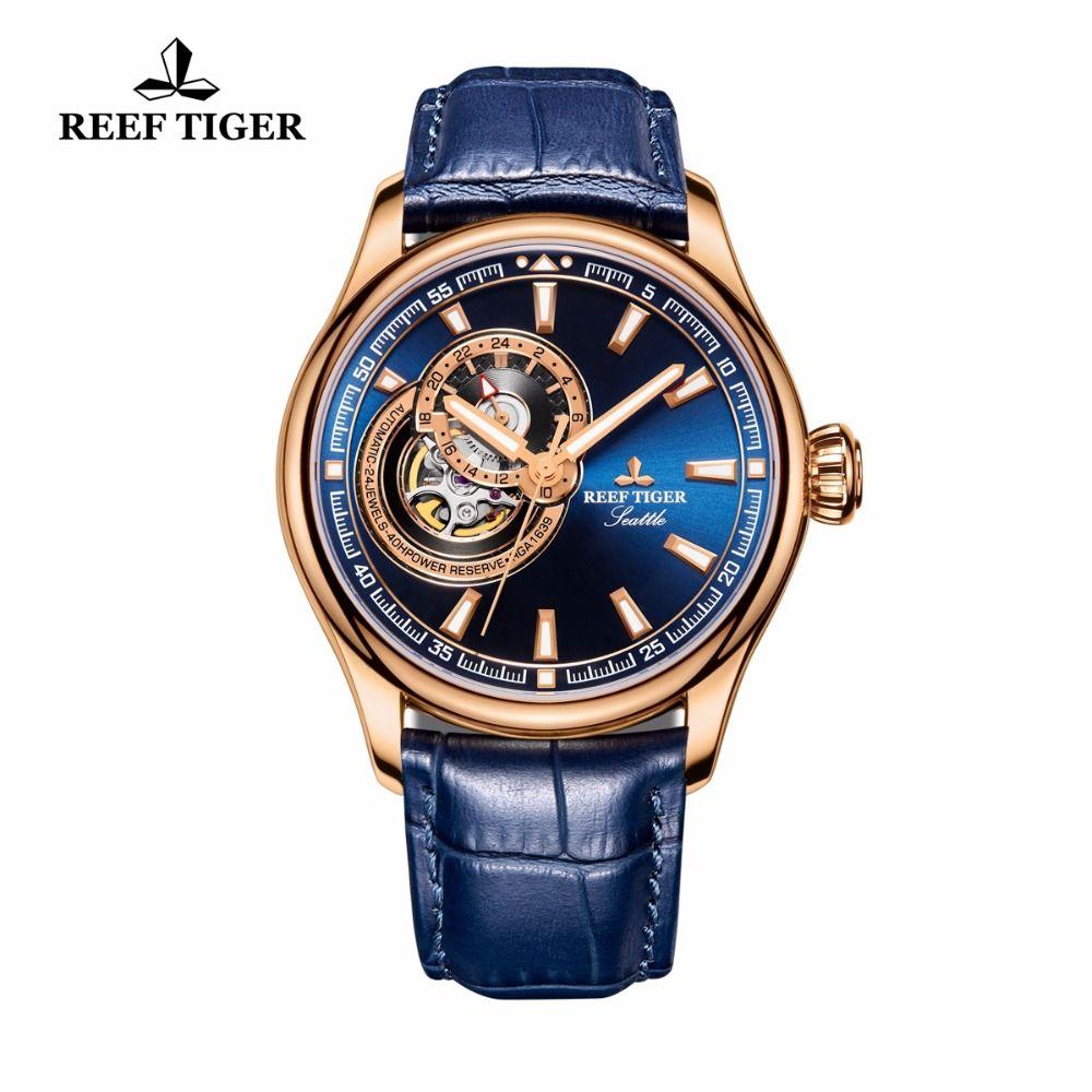 Reef Tiger/RT Dress Men Watch Blue Tourbillon Watches Top Brand Luxury Automatic Mechanical Watch Relogio Masculino RGA1639